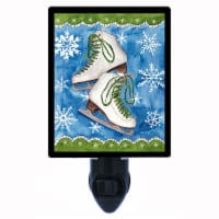 Winter Photo Night Light. Ice Skates And Snowflakes. Free Extra Picture For Lights. - 1