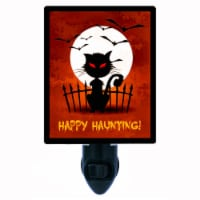 Halloween Decorative Night Light. Happy Haunting Black Cat. Free Extra Picture For Lights. - 1