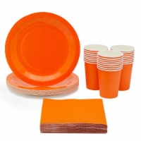Orange Party Supplies, Paper Plates, Cups, and Napkins (Serves 24, 72 Pieces) - PACK