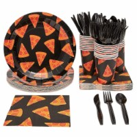 Pizza Party Supplies Pack, Includes Plates, Napkins, Cups and Cutlery (Serves 24, 144 Pieces) - Pack