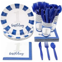 Baby Boy's 1st Birthday Party Dinnerware Supplies, Serves 24 Guests (144 Pieces)