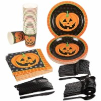 Pumpkin Halloween Party Supplies Serves 24 Plate Knives, Spoon Fork Cup Napkin - PACK