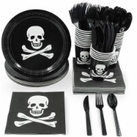 Pirate Party Supplies, Paper Plates, Cutlery, Cups, and Napkins (Serves 24, 144 Pieces) - Pack
