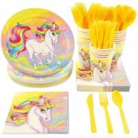 Rainbow Unicorn Party Dinnerware Bundle, Serves 24 Guests (144 Pieces)