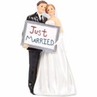 Wedding Cake Topper, Bride Groom Figurines Just Married Board, 3.3 x 5.8 x 2.25 - PACK