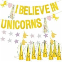 Unicorn Birthday Party Decoration Backdrop Hanging Centerpiece Banner & 12 Hats - PACK