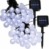 Sunnydaze 30-Count White Globe LED Solar-Powered Fairy String Lights - Set of 2