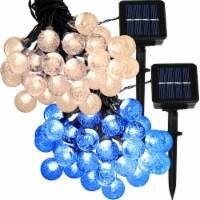 Sunnydaze 30-Count Globe LED Solar String Lights - 1 Warm White and 1 Blue - 1 string of solar lights