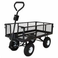 Sunnydaze Steel Dump Utility Garden Cart - 660 Pound Weight Capacity - Black - 1 utility cart