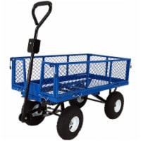 Sunnydaze Steel Dump Utility Garden Cart - 660 Pound Weight Capacity - Blue - 1 utility cart