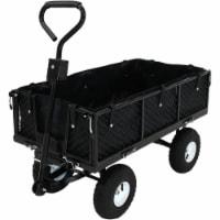 Sunnydaze Dumping Utility Cart with Folding Sides and Liner Set - Black - 1 utility cart; 1 liner