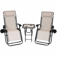 Sunnydaze Zero Gravity Lounge Chair Lawn Chairs with Side Table Set of 2 - Beige - 1 unit(s)