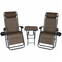 Sunnydaze Zero Gravity Lounge Lawn Chair with Side Table - Set of 2 - Dark Brown - 1 unit(s)