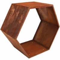 "Sunnydaze Log Rack 30"" Steel with Rustic Finish Hexagon Firewood Storage"