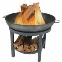 "Sunnydaze 30"" Fire Pit Cast Iron Wood-Burning Fire Bowl with Built-In Log Rack - 1 unit(s)"
