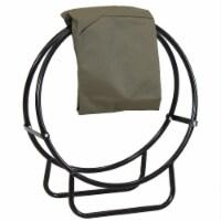 "Sunnydaze Firewood Log Hoop Holder with Khaki Cover Outdoor Black Steel - 24"""