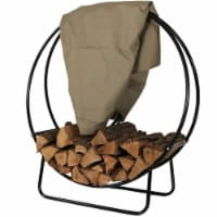 "Sunnydaze Firewood Log Hoop Holder with Khaki Cover Outdoor Black Steel - 40"""