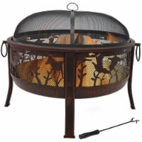"""Sunnydaze 30"""" Fire Pit Steel with Pheasant Hunting Design and Spark Screen"""