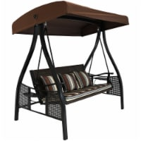 Sunnydaze Deluxe Steel Frame Brown Striped Cushion Canopy Swing with Side Tables - 1 patio swing