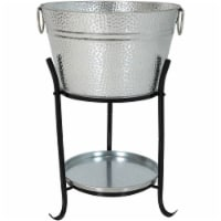 Sunnydaze Pebbled Galvanized Steel Ice Bucket Drink Cooler with Stand and Tray