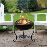 """Sunnydaze 18"""" Fire Pit Raised Black Steel with Spark Screen and Fire Poker"""