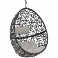 Sunnydaze Caroline Hanging Basket Egg Chair Swing - Resin Wicker - Gray Cushions - 1 unit(s)