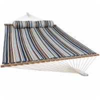 Sunnydaze 2-Person Quilted Spreader Bar Hammock Bed w/ Pillow - Ocean Isle - 1 quilted hammock