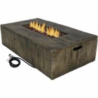"Sunnydaze Rustic Faux Wood Propane Gas Fire Pit Table w/ Cover & Lava Rocks- 48"" - 1 Gas Fire Pit"
