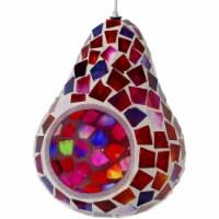 Sunnydaze Ruby Mosaic Glass Outdoor Hanging Bird Feeder - 6-Inch