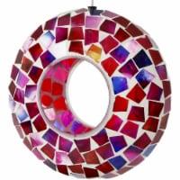 "Sunnydaze Outdoor Hanging Bird Feeder Crimson Glass Mosaic Fly-Through - 7"" - 1 Bird Feeder"