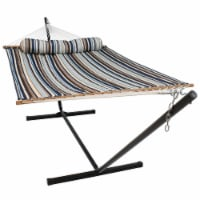 Sunnydaze 2-Person Quilted Spreader Bar Hammock Bed with 12' Stand - Ocean Isle - 1 quilted hammock