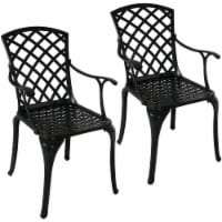Sunnydaze Outdoor Patio Chairs - Set of 2 - Cast Aluminum with Crossweave Design - 2 chairs