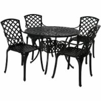 Sunnydaze Patio Table and 4 Chairs Set - Cast Aluminum with Crossweave Design - 1 dining table; 4 chairs