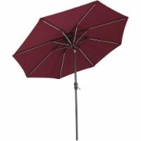Sunnydaze 9' Fade-Resistant Outdoor Patio Umbrella - Solar LED Lights - Burgundy