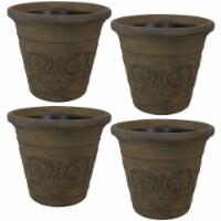 Sunnydaze Arabella Outdoor Flower Pot Planter  - Sable Finish - 20-Inch - 4-Pack
