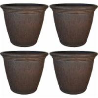 Sunnydaze Anjelica Outdoor Flower Pot Planter - Rust Finish - 24-Inch - 4-Pack