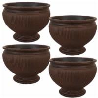 """Sunnydaze Elizabeth Outdoor Double-Walled Flower Pot Planter - Rust - 16"""" - 4-PK - 4 Planters"""