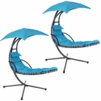 Sunnydaze Floating Chaise Lounger Swing Chair w/Canopy Umbrella - Choose Color
