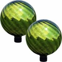 "Sunnydaze Green Rippled Mirrored Surface Glass Gazing Globe Ball - 10"" - 2 PK - 2 Gazing Balls"