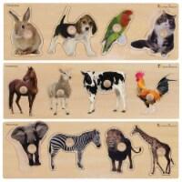 Kaplan Early Learning Large Knob Animal Puzzle Set - Set of 3 - 1