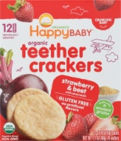 Happy Baby Organics Strawberry & Beet Crawling Baby Teether Crackers