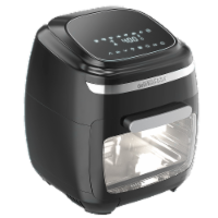 GoWISE USA 11.6-Quart Air Fryer Toaster Oven, Vibe, Black/Silver