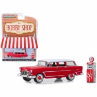 Greenlight 97070A 1955 Chevrolet Two-Ten Townsman Car with Vintage Gas Pump, Red