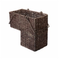Villacera 83-DEC7019 14 in. Wicker Stair Case Basket with Handles - Brown