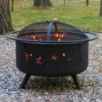 """Sunnydaze 30"""" Fire Pit Steel Cosmic Design with Cooking Grill and Spark Screen - 1 unit(s)"""