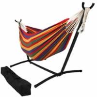 Sunnydaze Brazilian Double 2-Person Hammock w/ Portable Stand & Case - Tropical - 1 Brazilian hammock