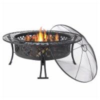 "Sunnydaze 40"" Fire Pit Black Steel Diamond Weave Design with Spark Screen"