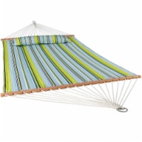 Sunnydaze 2-Person Quilted Outdoor Spreader Bar Hammock Bed - Blue and Green - 1 quilted hammock