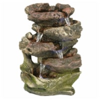 """Sunnydaze 5 Step Rock Falls Tabletop Indoor Fountain Feature w/ LED Lights - 14"""""""