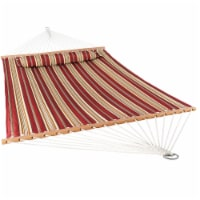 Sunnydaze 2-Person Quilted Spreader Bar Hammock Bed w/ Pillow - Red Stripe - 1 quilted hammock